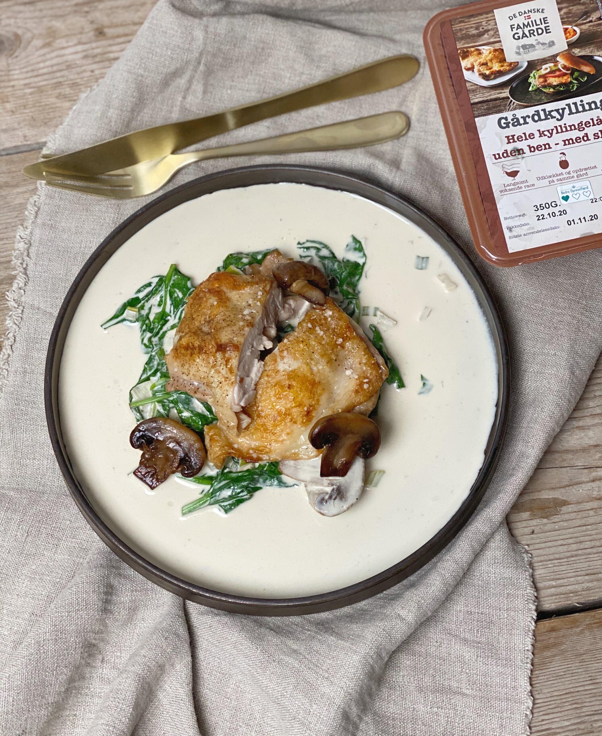Udbenet kyllingelår i flødeostesauce
